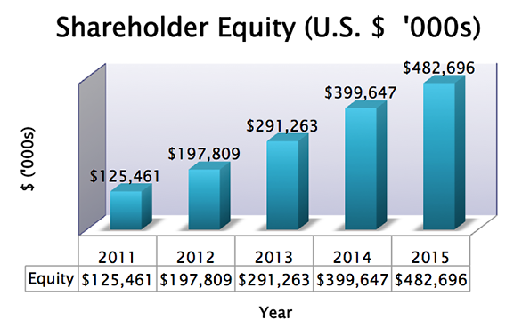 SIAF 5 Year Shareholder Equity chart