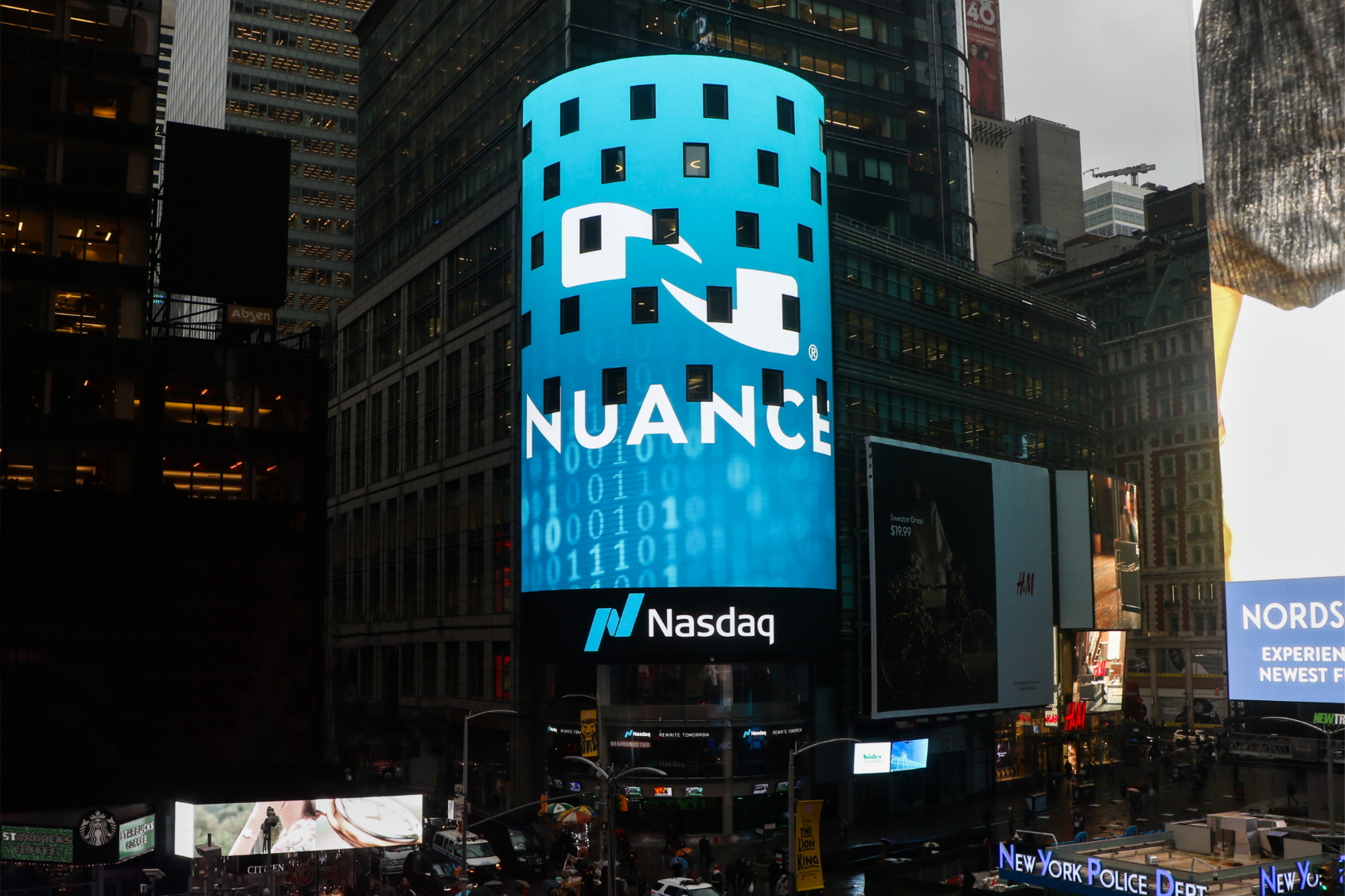 Nuance logo on time square nasdaq billboard